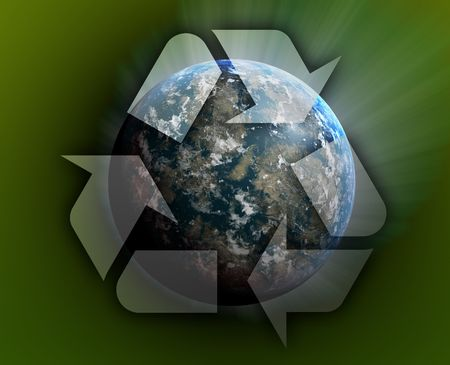 wastage: Recycling eco symbol illustration of three arrows over planet earth Stock Photo