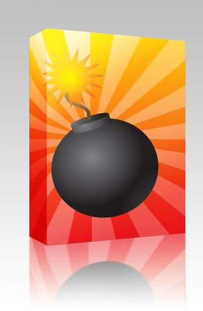 Software package box Old fashioned round black bomb with lit fuse photo