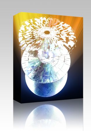 Software package box Data information loss and corruption illustration, shattered cd Stock Illustration - 5739156