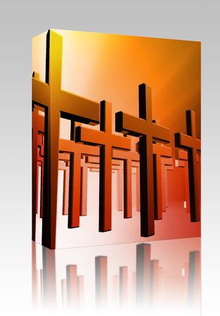 church group: Software package box Many christian church crosses in group,  religious illustration Stock Photo
