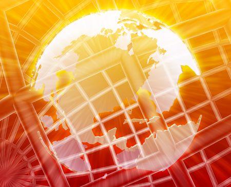 globe grid: Abstract globe grid wireframe USA world map illustration
