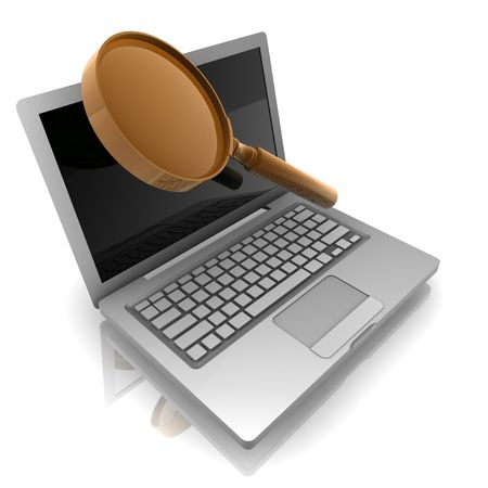 Computer online search information with magnifying glass and notebook photo