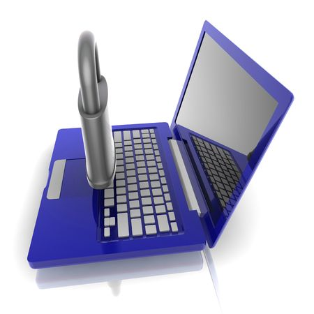 Computer internet security illustration with lock and notebook Stock Illustration - 5738966