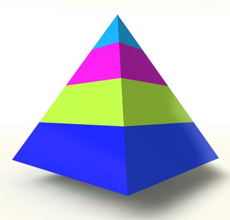 Layered heirarchy pyramid illustration, 3d colored