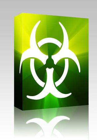 infectious waste: Software package box Biohazard sign, warning alert for hazardous bio materials