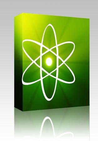 Software package box Atomic nuclear symbol scientific illustration of orbiting atom Stock Illustration - 5738991