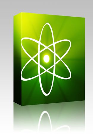 Software package box Atomic nuclear symbol scientific illustration of orbiting atom illustration