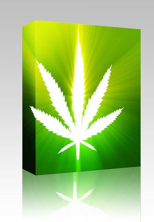 Software package box Marijuana cannabis leaf illustration, abstract symbol design Stock Illustration - 5738953