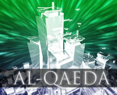 al: Terrorist terror attack Al Queda terrorism bombing concept illustration