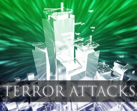 terror: Terrorist terror attack Al Queda terrorism bombing concept illustration