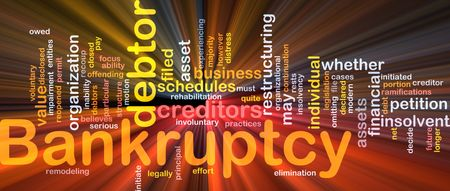 Word cloud concept illustration of financial bankruptcy glowing light effect  Stock Photo