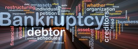 impairment: Word cloud concept illustration of financial bankruptcy glowing light effect  Stock Photo