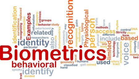 trait: Word cloud concept illustration of biometrics recognition