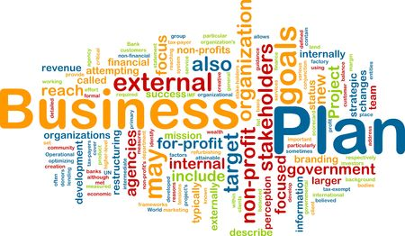 stakeholders: Word cloud concept illustration of business plan