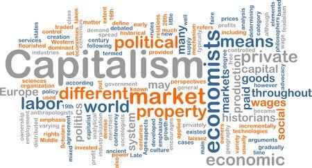capitalismo: Concepto Word nube ilustraci�n del capitalismo econom�a