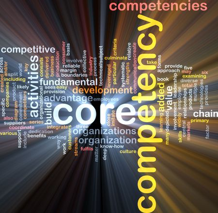 Word cloud concept illustration of core comptency glowing light effect Stock Illustration - 5739188