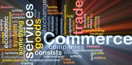 Word cloud concept illustration of trade commerce glowing light effect Stock Illustration - 5739125