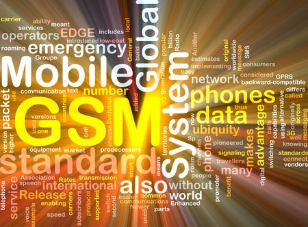 gsm: Word cloud concept illustration of phone GSM glowing light effect  Stock Photo