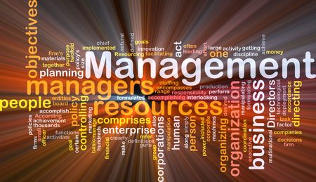 Word cloud concept illustration of business management glowing light effect Stock Illustration - 5739173