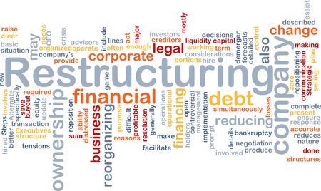Word cloud concept illustration of company restructuring Stock Illustration - 5739141