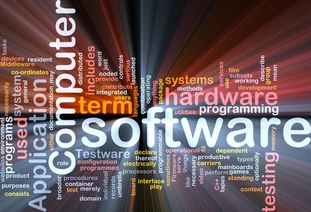 Word cloud concept illustration of computer software
