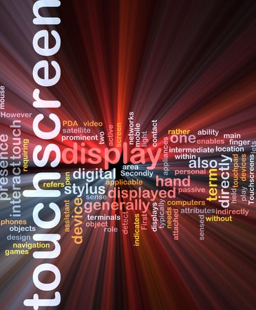 indirectly: Word cloud concept illustration of touchscreen technology