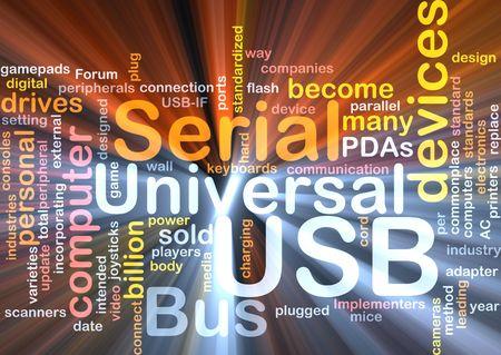 commonplace: Illustrazione concetto Word nube di computer USB effetto splendente di luce Archivio Fotografico