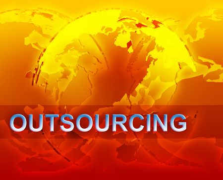 globalization: Outsourcing globalization international free trade economy illustration with globes