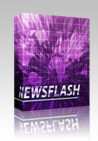 Software package box Latest breaking news newsflash splash screen announcement illustration Stock Photo
