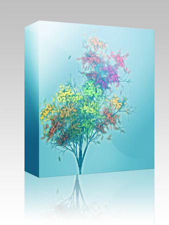 shedding: Software package box Autumn tree with falling leaves, abstract rendered illustration Stock Photo