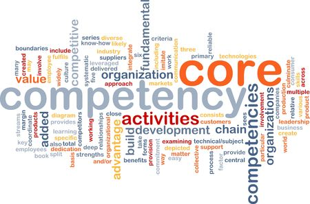 competency: Word cloud concept illustration of core comptency