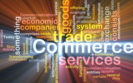 commercialization: Word cloud concept illustration of trade commerce glowing light effect  Stock Photo