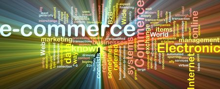 echange: Word cloud concept illustration of e-commerce electronic commerce glowing light effect