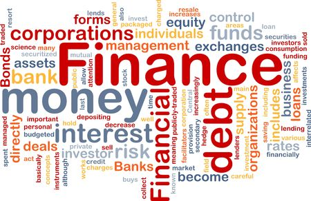 private cloud: Word cloud concept illustration of money finance Stock Photo