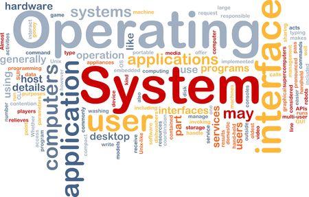 Word cloud concept illustration of operating system illustration