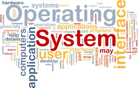 systems: Word cloud concept illustration of operating system