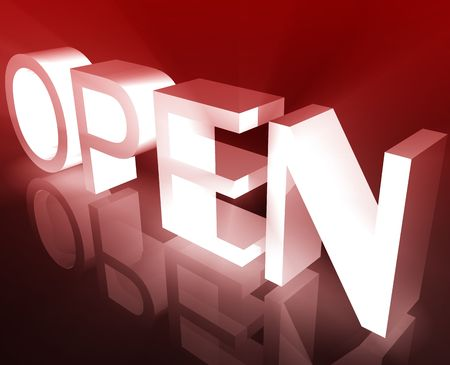 renders: Glowing shining open business sign symbol illustration background
