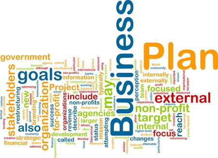 Word cloud concept illustration of business plan Stock Illustration - 5753292