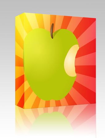 Software package box Apple illustration whole green fruit with bite illustration