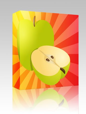 granny smith apple: Software package box Apple illustration whole and half cross-section isometric view Stock Photo