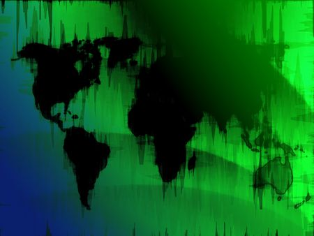 Map of the world illustration, glowing outline gradient colors Stock Illustration - 5907277