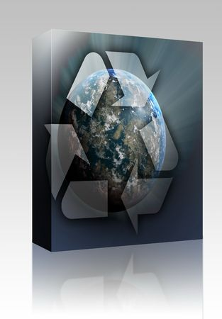Software package box Recycling eco symbol illustration of three arrows over planet earth illustration