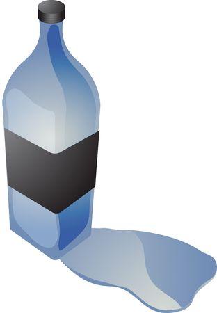 spilling: Bottle of brightly colored liquid spilling over