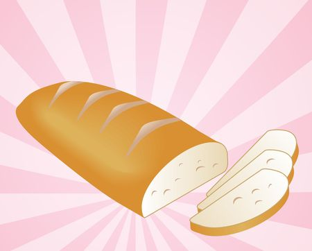 crusty: Illustration of a sliced loaf of bread on radial burst background