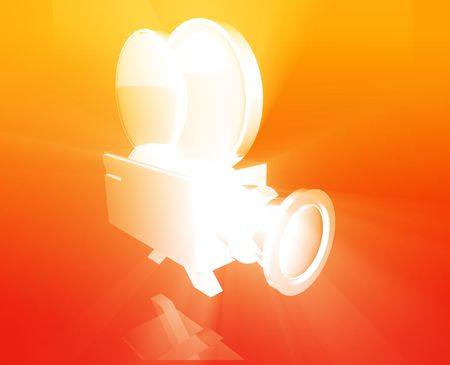 feature film: Old vintage film camera illustration shiny glowing concept