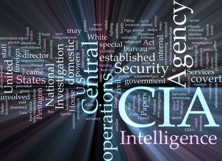 cia: Word cloud concept illustration of  CIA Central Intelligence Agency glowing light effect  Stock Photo