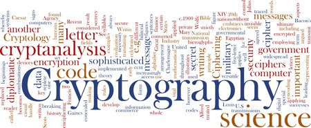 ciphering: Word cloud concept illustration of cryptography encryption Stock Photo