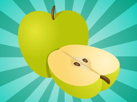 granny smith apple: Apple illustration whole and half cross-section isometric view