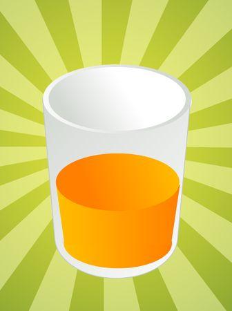oj: Glass of orange juice, beverage in cup, illustration