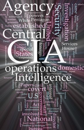 Word cloud concept illustration of  CIA Central Intelligence Agency glowing light effect  illustration